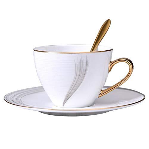 Tazas de Espresso 220ml / 7.4oz Personalidad Blanco Hueso China Taza de café Conjunto Taza de té con borde de oro pintado a mano bordes y asas, contiene 1 platillo y 1 cuchara Juegos de Cafe de Porcel