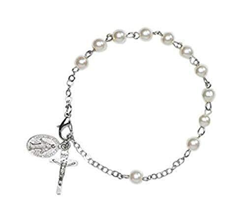 6mm Marfil simulado perla de imitación pulsera de rosario con medalla Milagrosa encanto de perlas, 73/4Inch