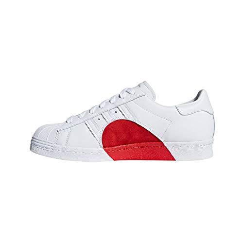 adidas Superstar 80s HH W, Zapatillas de Gimnasia para Mujer, Blanco (FTWR White/FTWR White/Scarlet), 38 2/3 EU