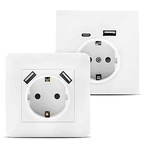 VPOW Enchufe con 2 puertos USB 2,8 A, enchufe USB de pared con (USB-A y USB-C), se adapta a caja estándar empotrada, cargador para smartphone, tablet, MP3, color blanco (2 unidades)