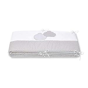 Amilian® Protector de cabeza para cuna de bebé, protector de bordes con bordado (lunares pequeños gris/nubes, 360 cm…