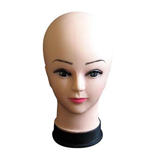 Longra Femmes Chapeau de tête de mannequin Perruque d'affichage Modèle de tête professionnelle polystyrène mousse flocage tête modèle perruque lunettes Blanc présentoir Femme Perruque (Beige)