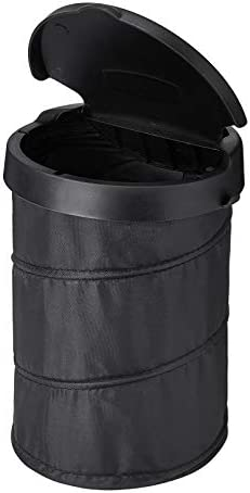 JOYTUTUS Small Trash Can with Lid Collapsible Car Trash Can Waterproof Leak Proof Washable Hook product image