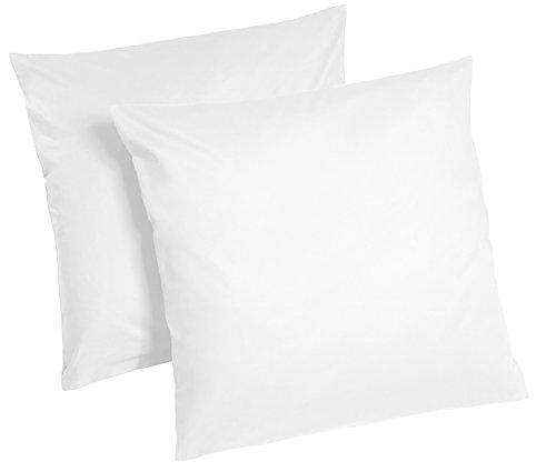 Optidream Lot de 2 taies d'oreiller renforcées 100 % coton, 100 % coton Coton, Blanc, 80 x 80 cm
