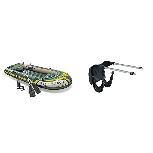 Intex 68351Np - Barca Hinchable Seahawk 4 con Remos 351 X 145 X 48 Cm + 68624Np - Soporte Motor Fueraborda 20 X 22 Cm Base Aluminio