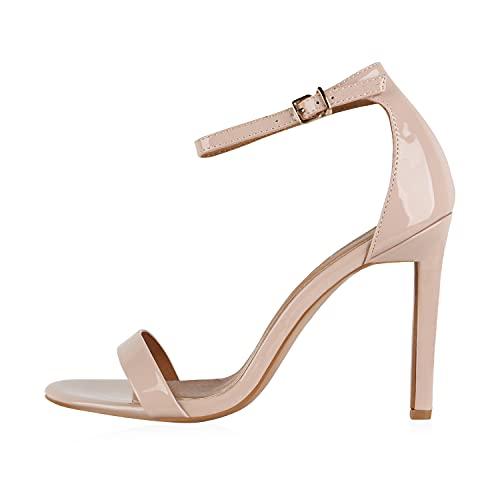 Giralin Damen Sandaletten Riemchensandaletten Stiletto High Heels Leder-Optik Party Schuhe Elegante Abendschuhe Tanz Absatzschuhe 610102 Nude 38