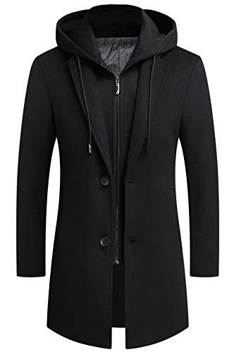 Seidarise men's Wool Coat, Peacoat hooded long jacket double breasted overcoat