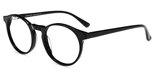Firmoo Blaulichtfilter Brille Entspiegelt für Damen Herren, Anti Blaulicht Computer Brille ohne Sehstärke für Bildschirme Schwarz, Nerd Blaulicht UV Schutzbrille mit Federschanier