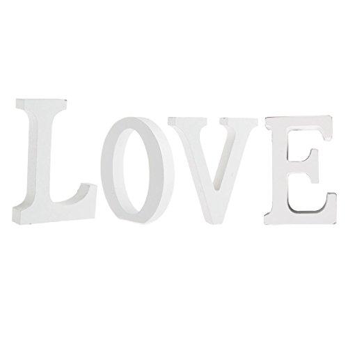Worsendy Buchstaben weiß, Handwerk Holz Holz Briefe Braut Hochzeitsparty Geburtstag Spielzeug Home Dekorationen 8 * 6CM (Love)