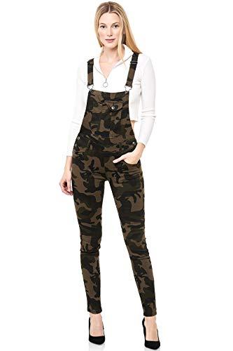 EGOMAXX Damen Jeans Latzhose Tarnmuster Skinny Latzjeans Overall Hose, Farben:Camouflage, Größe:XL