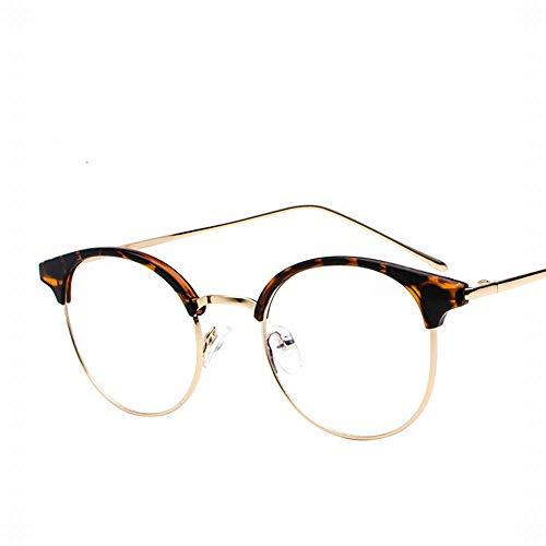 LIUYALE Flachgläser Männer und Frauen-rundes Feld Metall Mode Wildl Halbrahmenbrille Studenten Casua Brillenfassungen (Color : Leopard)
