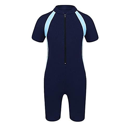 Einteiler Tauchanzüge, Kinder Jungen Sun Protection Neoprenanzug Kurze Ärmeln Tauchen Anzug Reißverschluss Rash Guard Badeanzug (Color : Blue, Size : 7-11Years)