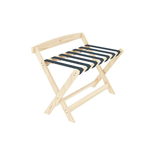 Great Features Of no logo Hotel Room Household Luggage Rack with Backrest, Solid Wood Foldable Lugga...