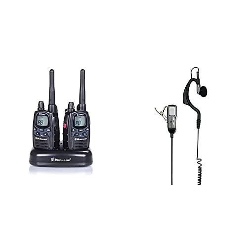Midland G7 Pro Kit Radio Ricetrasmittente Walkie Talkie Dual Band 8 Canali Pmr446 E 69 Canali Lpd & Ma21-L Microfono Con Mono Auricolare Regolabile, Accessorio Per Radio Ricetrasmittenti