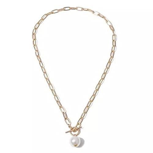 Petrichori Gargantilla con Colgante de Moneda de Perlas barrocas góticas para Mujer, Collar de Cadena Larga Punk de Boda, Regalo de joyería - Oro 45Cm