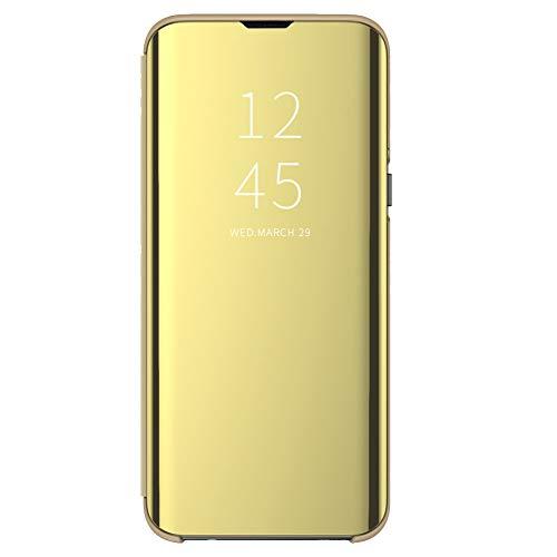 Clear View, custodia per Samsung Galaxy S8, compatibile con Galaxy S8, a specchio, con funzione leggio a 360 gradi, colore: oro