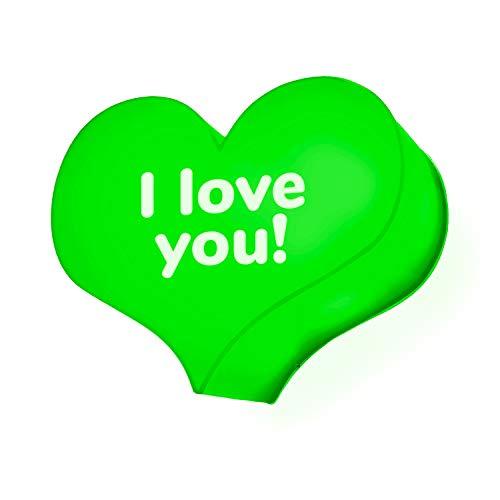 Corazón luminoso LED de plexiglás verde 25 x 19 cm y nombre o texto personalizados lámpara decoración casa cartel idea regalo San Valentín enamorados