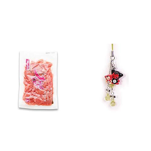 [2点セット] しな漬け(160g)・さるぼぼペアビーズストラップ 【緑】/縁結び・魔除け//