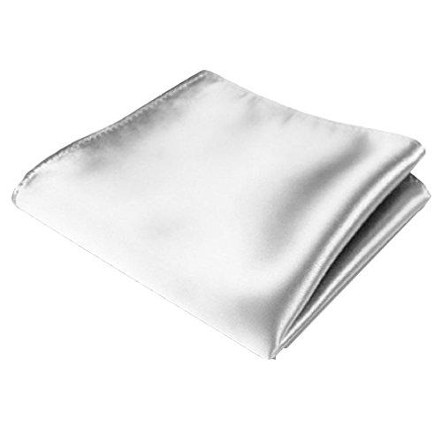 Bodhi2000 Pañuelo cuadrado de satén de seda de color sólido para hombre