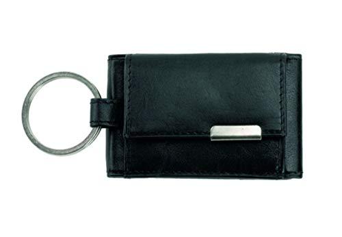 Alassio Mini Geldbörse aus feinem Nappaleder, kleines Portemonnaie mit Metallemblem und Schlüsselring Münzbörse, 8 cm, Schwarz