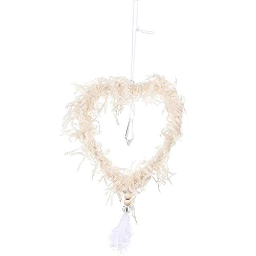 CHAOCHAO Creative Christmas Tree Hanging Pendant with Crystal Pink White Heart Star Feather Ornament Christmas Decoration for Home Xmas (Color : Apricot Heart)