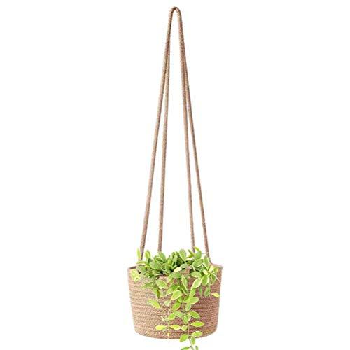 Shenruifa - Cesta colgante de lino y algodón para plantas de interior