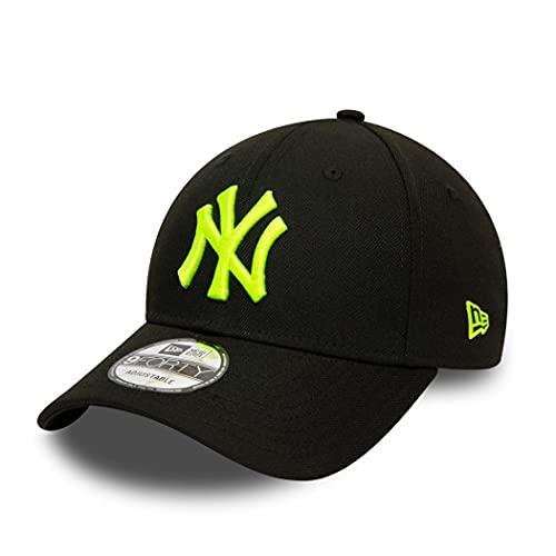 New Era York Yankees MLB Pop Logo Black Neon Yellow 9Forty Adjustable Snapback Cap - One-Size