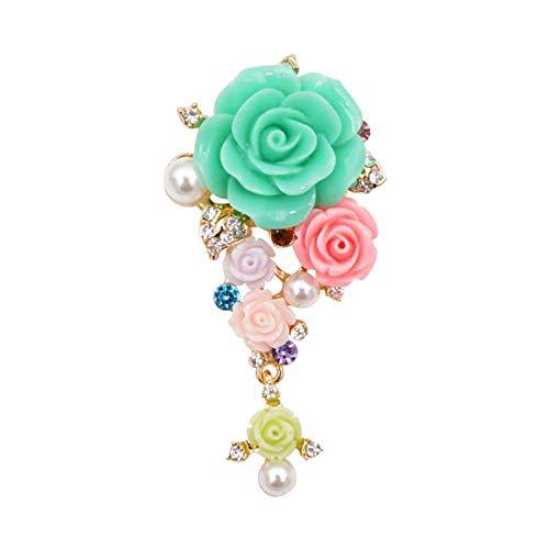 Diozet Broschen,Gartenblumenbroschen, für Frauen Harz Elegante Hochzeitsbrosche Pin Kleid Mantel Tasche Schmuck 3 Farbe A. G