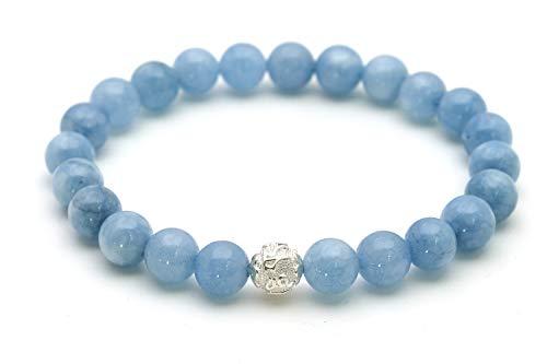 Aquamarin Armband – Echtes Perlenarmband mit Naturstein und 925 Sterling Silberperle – BERGERLIN Feel Goods