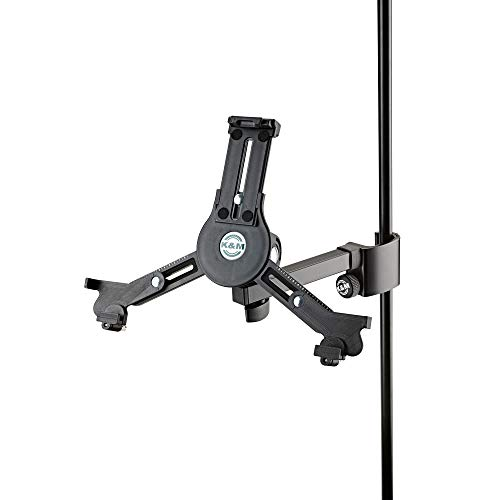 K&M - Konig & Meyer 19791.016.55 - Tablet/iPad Holder for Microphone Stand - Switch from Landscape to Portrait - Professional Grade for All Musicians - Studio or Remote Home Use - German Made - Black