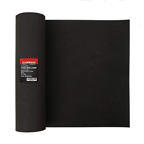 CASOMAN Professional Tool Box Liner and Drawer Liner - 16 inch (wide) x 6 feet (long), Non-Slip,Black,1/8