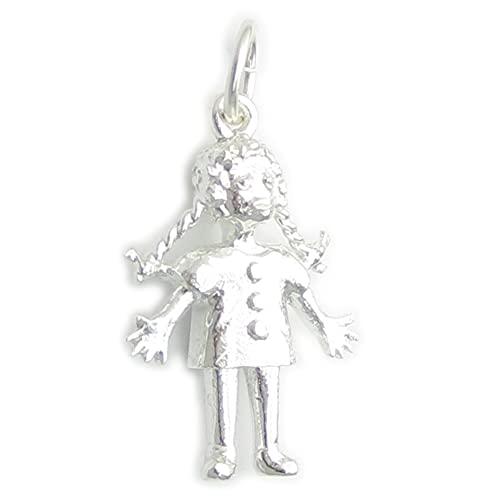 Colgante de muñeca de trapo de plata de ley 925 x 1 con diseño de muñecas y juguetes, SFP