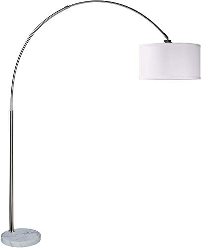 SH Lighting 6938 Brush Steel Arching Floor Lamp with White Marble Base - Features Large White Drum Style Shade - 81
