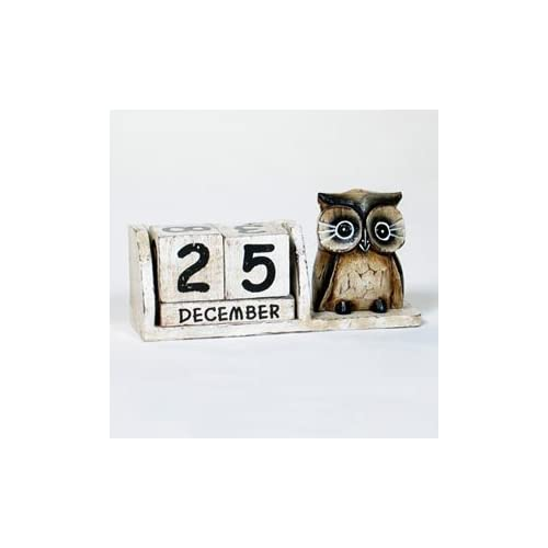 Fair Trade Hand Carved Wooden Sitting Cat Perpetual Calendar Shabby Chic White