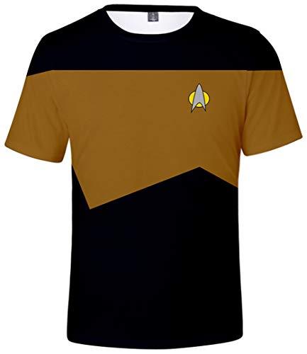 Silver Basic Camiseta Unisex con Logo Dorado de Star Trek la Camiseta Original de la Serie Original Top Uniforme de Mr.Spock para Fanáticos del Cine L,Kirk Uniforme-1