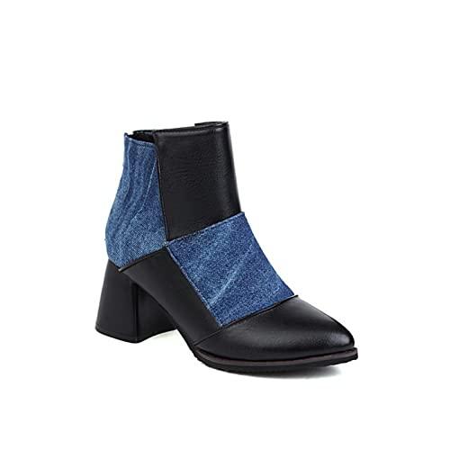 HAOLIN Stivaletti da Donna, Stivali alla Moda a Punta Stivaletti con Cuciture Classiche per Tutte Le Occasioni,Blue-34EU