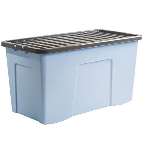 Aufbewahrungsbox mit Deckel 110 Liter - Kunststoff Aufbewahrung Spielzeug Box Aufbwahrungsbox Stabelbox
