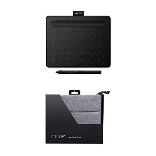 Wacom Intuos S schwarz Stift-Tablett, Mobiles Zeichentablett zum Malen und für Fotobearbeitung mit druckempfindlichem 4K Stift und 1 kostenlosen Softwaredownload + Schutzhülle für Intuos Small