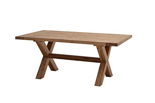 Ploß Gartentisch Lincoln 180 x 100 cm - Terrassentisch Holz massiv mit FSC-Zertifikat - Balkontisch aus hochwertigem Naturholz für 6-8 Personen- Teakholz-Tisch Braun mit X-Beinen