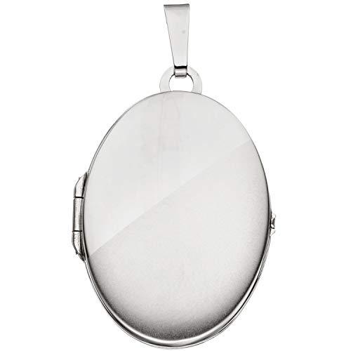JOBO Damen-Medaillon aus 585 Weißgold Oval zum Öffnen für 2 Fotos