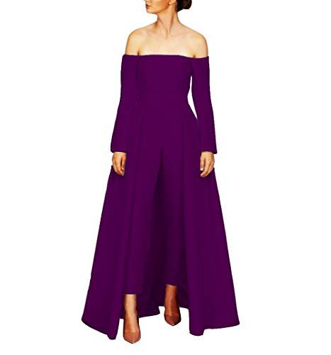 Emmani Women's Off The Shoulder Prom Dress Jumpsuits Wdding Dresses with Detachable Skirt Dark Purple