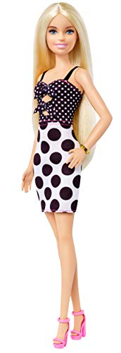 Barbie Fashionistas Doll with Long Blonde Hair Wearing Polka Dot Dress and Accessories, for 3 to 8 Year Olds?