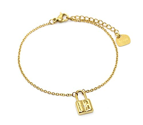 Oh My Shop BC4264 – Pulsera fina con cadena con candado, estrella de acero dorado