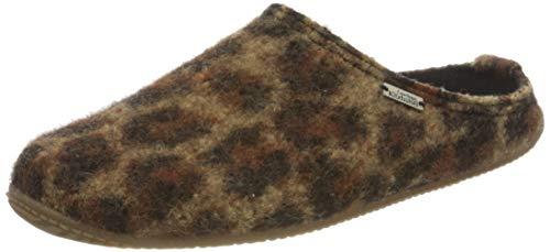 Living Kitzbühel Damen Pantoffel Leopard mit Fußbett Hausschuh, 38 EU