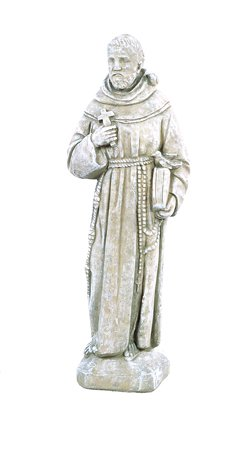Solid Rock Stoneworks St Francis with Bird On Shoulder Statue 25in Tall Desert Sand Color