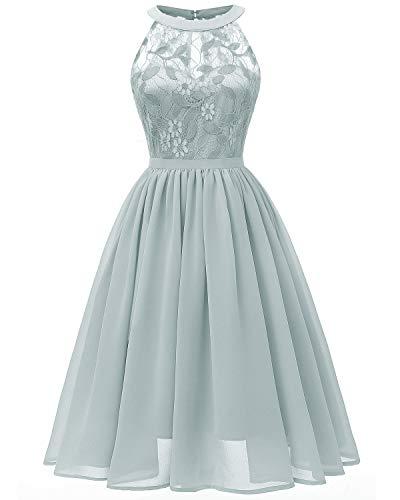 Viloree Damen Neckholder Floral Spitze Brautjungfern Partykleid Ärmellos Cocktail Kleid Airy Blau M