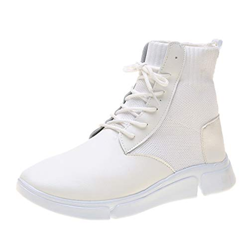HDUFGJ Sneaker Damen Leder Laufschuhe Hohe Hilfe Weicher Boden Outdoor-Sportschuhe Laufschuhe Bequem Mode Freizeitschuhe Leichtgewicht Faule Schuhe Turnschuhe Fitnessschuhe 39 EU(Weiß)