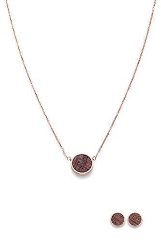Kerbholz Holzschmuck – Schmuckset Circle Roségold, Geometrics Collection, Damen Halskette mit rundem Holz Anhänger und Ohrringe mit Naturholz