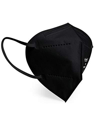 Schwarz FFP2 Maske - Schachtel à 20 Stück - EU CE Zertifiziert, mit verstellbarem Gummiband und anpassbarem Nasenbügel| 5 Filtrationsschichten, Schützt drinnen und draußen