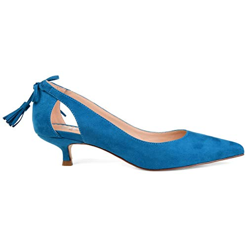 Brinley Co. Womens Pointed Toe Cut-Out Pump Teal, 7.5 Regular US
